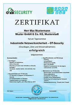 Industrial Security Seminar Zertifikat