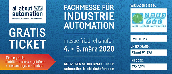 Indu-Sol Ticketregistrierung all about automation Friedrichshafen 2020