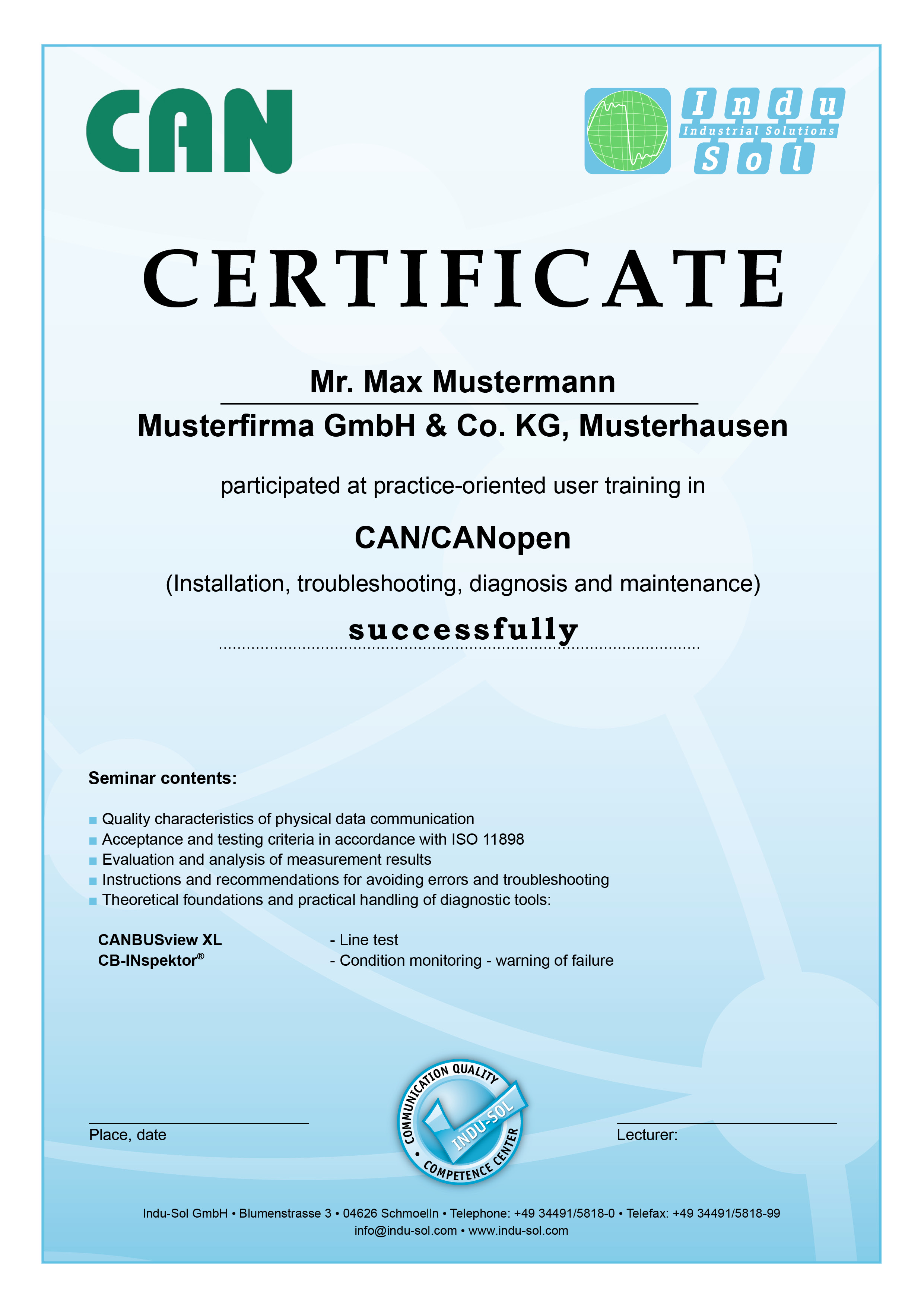Certificate CAN Training
