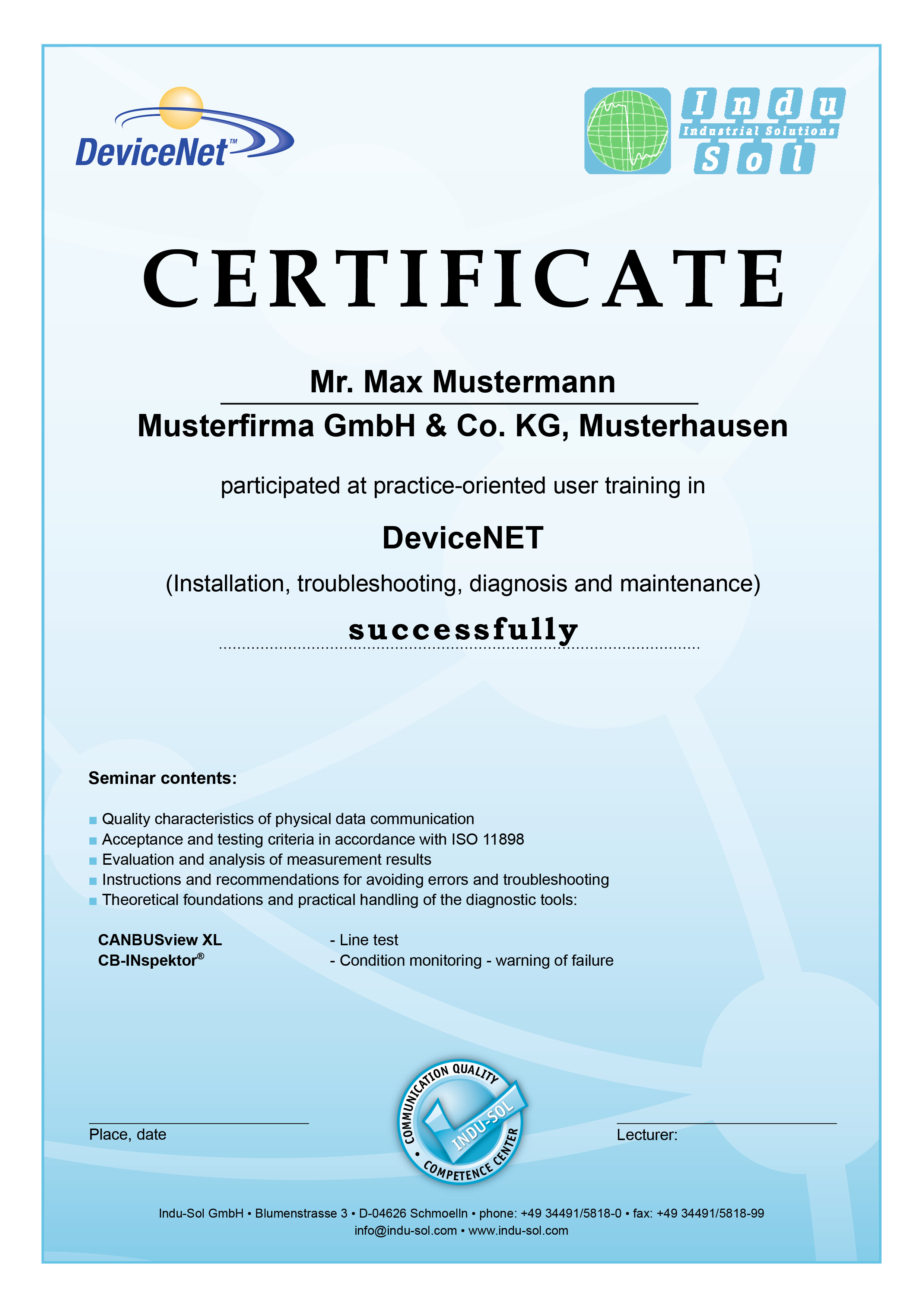 Certificate DeviceNet Training