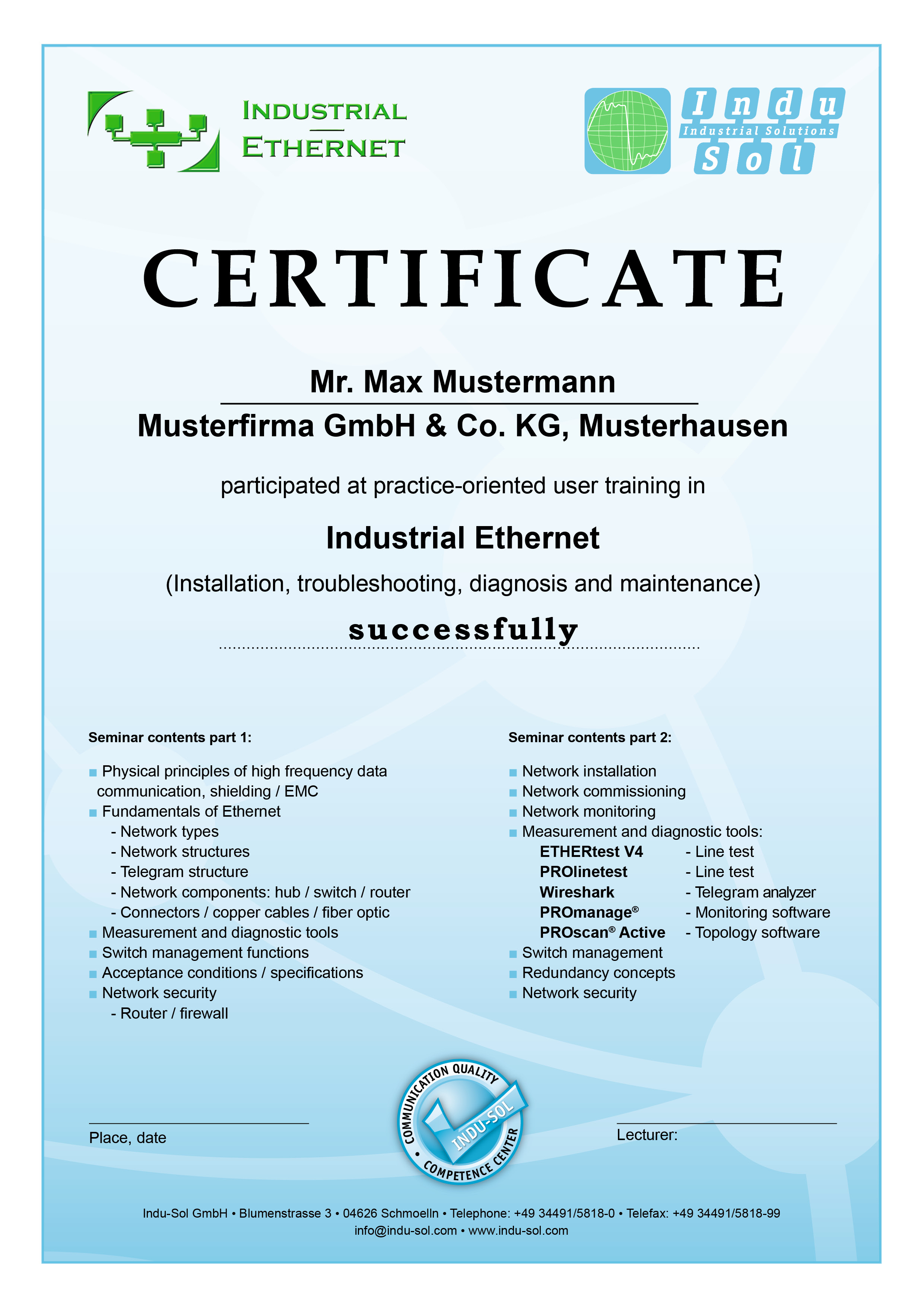Certificate Ethernet Training