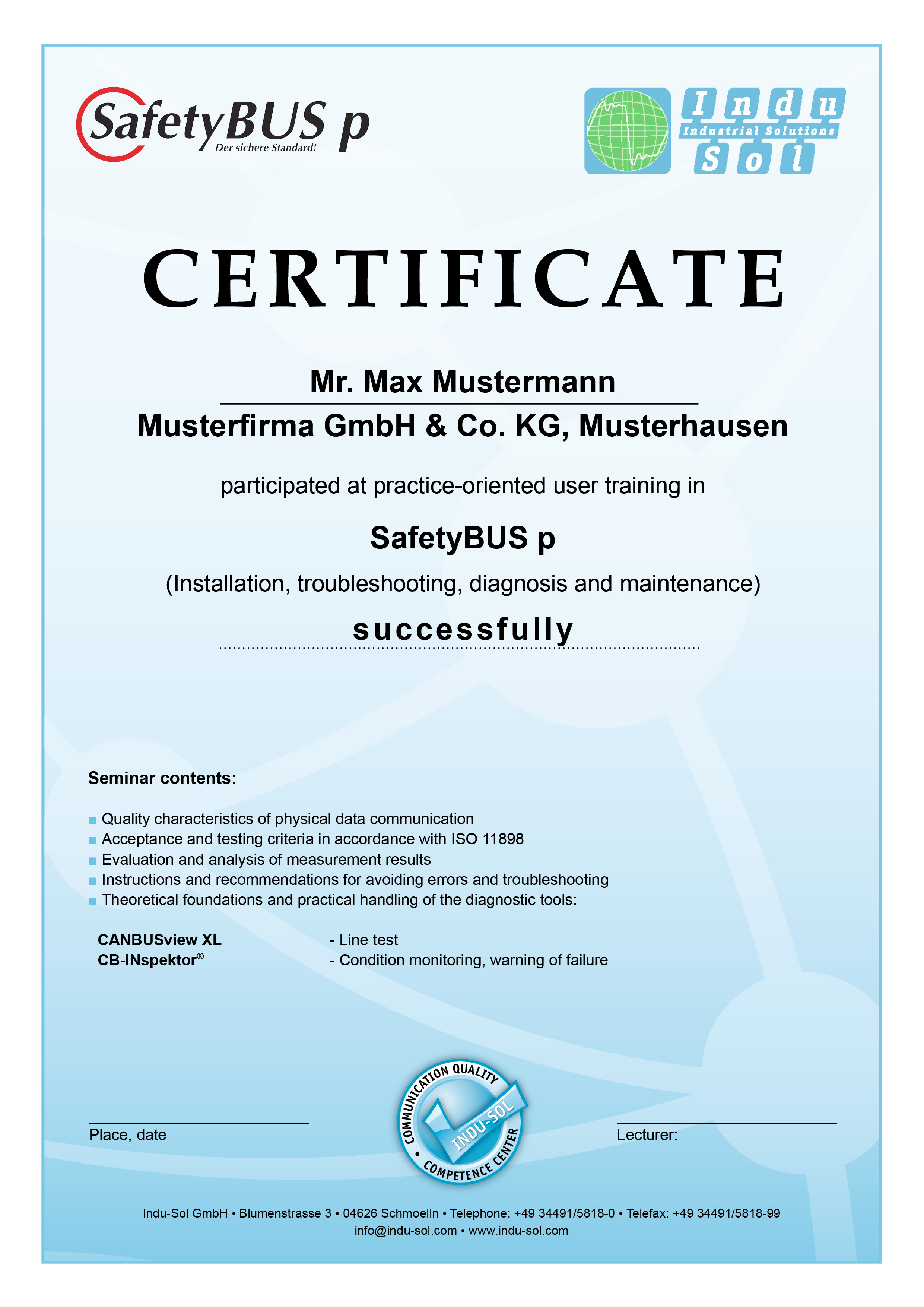 SafetyBUS p Training certificate