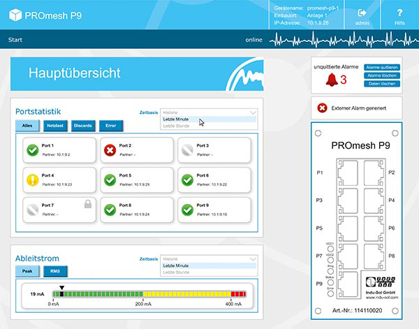 PROFINET Switch PROmesh P9 Screenshot